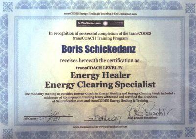 Boris Schickedanz Energy Healer und Clearing Zertifikat