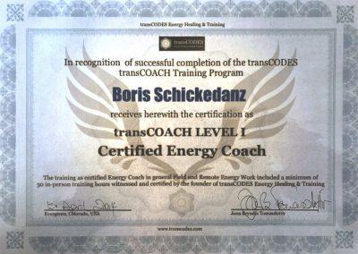 Boris Schickedanz Energy Coach Zertifikat